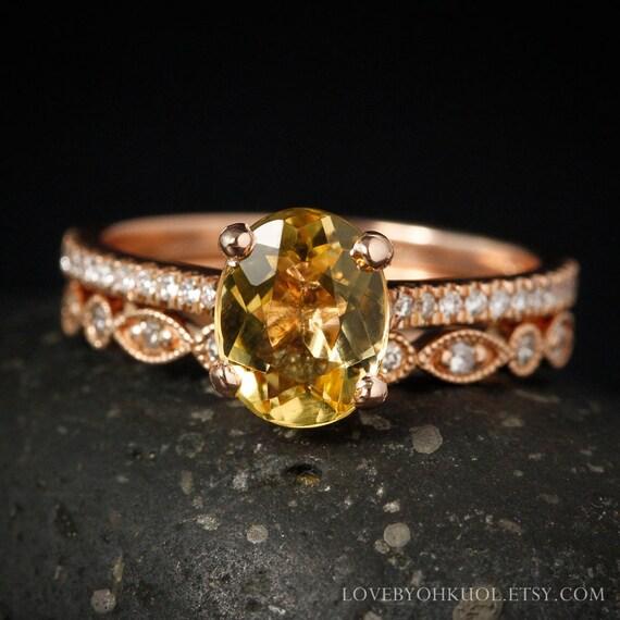 Oval Golden Beryl Engagement Ring Diamond Wedding Band
