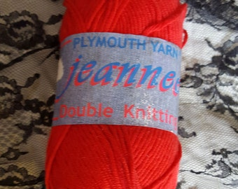 2 Skeins Plymouth Yarn, Jeannee, Beautiful Red, Double Knit