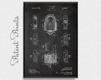 Lock 1924 Patent Print, Lock Prints, Lock Posters, Lock Blueprints, Lock Art, Lock Wall Art, Lock Wall Print