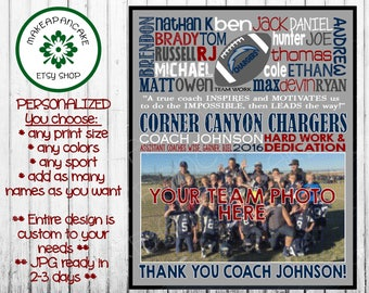 FOOTBALL COACH GIFT ~ Football Team Gift ~ End of Season Gift ~ Coach Thank You ~ Jpeg File ~ Personalized