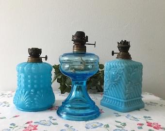 1930's Beautiful Aqua Milkglass Oil Lamps