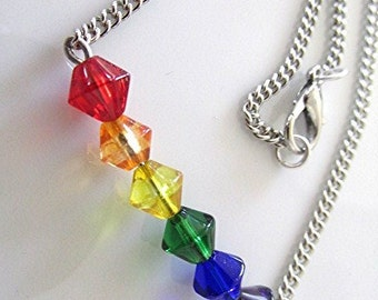 Beaded anklet beaded ankle bracelet LGBT anklet gay pride anklet rainbow anklet glass rainbow bead and silver tone chain anklet gay gift.
