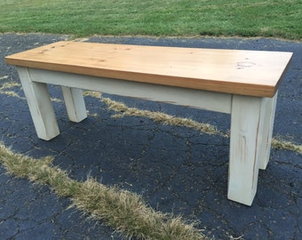 Rustic Wood Farmhouse Bench -Custom Sizes Available