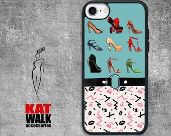 Apple iPhone Rubber Case. Woman's Lips and Shoes Fashion iPhone Case. High Heel Shoe iPhone. Retro 80s design iPhone. Shoe Design iPhone