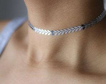Arrow Necklace - Silver Chevron Choker Necklace - Delicate Silver Choker - Geometric Jewelry - Minimalist Jewelry - Layering Necklace
