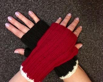 Harley Quinn themed fingerless mittens, wrist warmers.