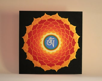 Golden-Red Om Mandala, Original Artwork, Original Painting