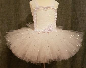 White mini bride tutu dress with bustle special occasion wedding