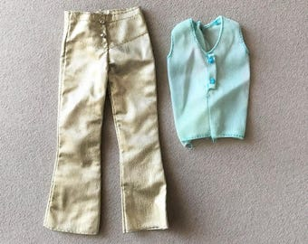 Vintage Barbie Glowin Gold Pants/ Turquoise Top