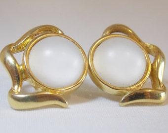 Monet Gold Tone Frosted Glass Pierced Earrings Monet Earrings Gold tone Earrings Frosted Glass Earrings White Glass Art Glass Art Deco