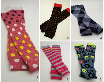 Leg Warmers Group 6. toddler tights, children's leg warmers, babylegs, baby leggings, arm warmers, LOL BFF polka dots, argyle, baby legs