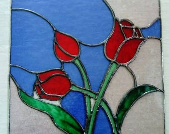 Stained glass red Tulips