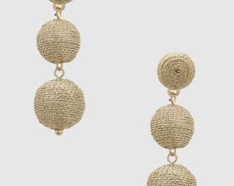 Bon Bon Earrings, Bon Bons, Mini Gold Bon Bon Earrings, Ball Drop Earrings, Double Ball Earrings, Gumdrop Earrings, Thread Wrapped Earrings
