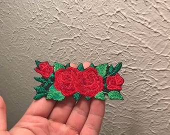 Red Roses Embroidered Patch