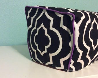 Cricut Explore/ Air/ Air2/ One Custom Handmade Dust Cover Black and White with Purple Piping