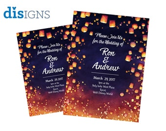Disney Tangled Wedding Invitations (AVAILABLE AS MAGNETS!)