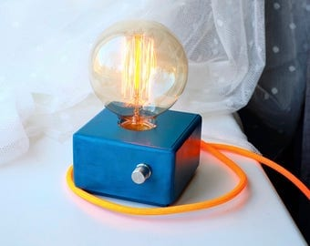 Ocean blue handmade modern style table lamp with Edison bulb and dimmer!