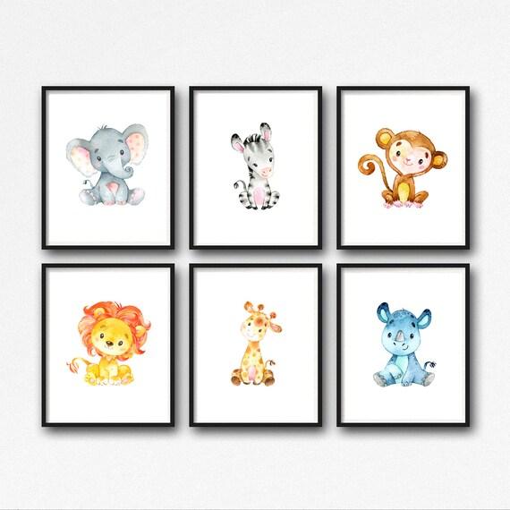 animals nursery art printable jungle animals nursery decor. Black Bedroom Furniture Sets. Home Design Ideas
