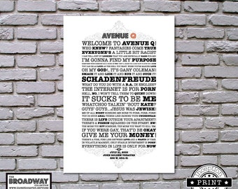 Avenue Q - Unframed - Quotes - Lyrics - Typography Print