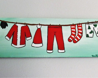 "Santa's Clothesline - 12"" x 4"" Acrylic on Stretched Canvas"