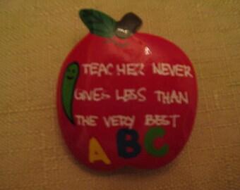 Un Worn Vintage Wood Painted Teachers Apple Brooch Teachers Never Give Less Than Their Best ABC