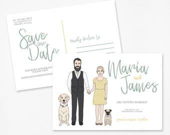 Custom Save The Date w/ Pet(s), Save The Date Pet Portrait, Custom Digital Pet Portrait -Wedding Invitation, Save the Date, Dog Illustration