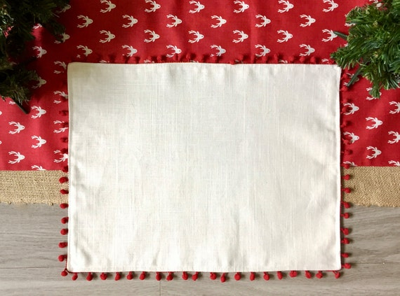 CHRISTMAS PLACEMATS Set of SIX, White with Red Pom Pom Trim, Linen Placemats, Set of 6