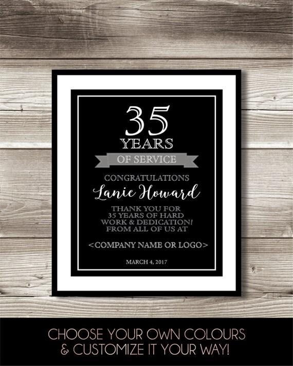 35 Year Work Anniversary Print 35th Work Anniversary Digital