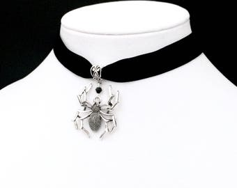 Spider Choker, Black Velvet Choker, Gothic Jewelry, Spider Web Necklace, Silver Spider Web, Victorian Choker, Spider Jewelry