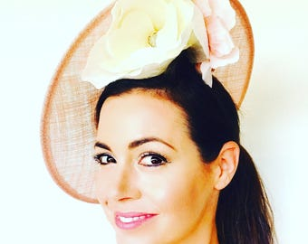 Pink Saucer, Kate Middleton style hat, Mother of Bride Hat, Wedding Hat, Ladies Races Hat, Saucer Hat, Pink Melbourne Cup Hat, Breeders Cup