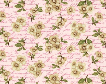 Pink Japanese Cherry Blossoms Love Notes Blank Textiles Fabric Quilt   Craft Home Decor  Fat Quarter