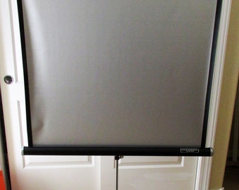 Vintage Wards Projection Screen Silver Faced 38 x 38 Tripod Portable Stand
