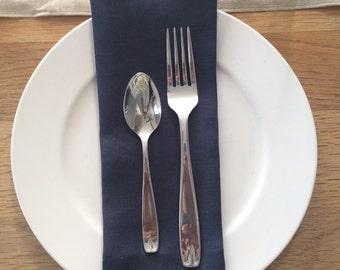 Dinner Napkins/ Linen Napkins/ Napkin/ Navy Blue Napkins