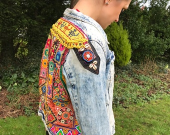 Gypsy Festival Jacket with Vintage Indian Embroideries & Afghan Beadwork