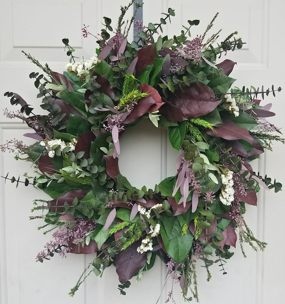 Custom sizes, dried wreath, wreath, burgundy wreath, seeded eucalyptus wreath, leaf wreath, preserved wreath, decorative wreath