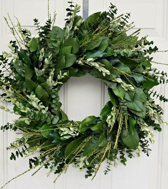 "Custom sizes, 15"" preserved wreath, teardrop eucalyptus wreath, leaf wreath, large wreath, indoor wreath, eucalyptus wreath, natural wreath"
