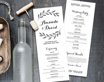 Rustic Wedding Program Template,  Order of Service, Printable Wedding Ceremony Program, Instant Download, Editable Text, PDF File #203WP