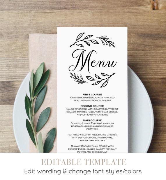 menu card template printable wedding menu dinner menu. Black Bedroom Furniture Sets. Home Design Ideas