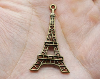 Eiffel Tower Charms - 4pcs Antique Bronze Filigree Eiffel Tower Paris Charm Pendants 36mm x 68mm (500-66)
