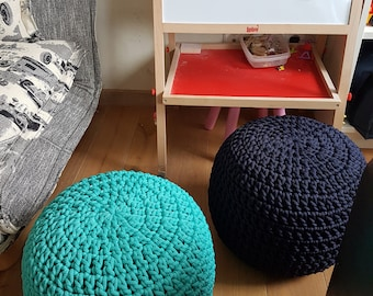 Navy dark blue Pouf, Furniture, Kids  Furniture, Bean Bag Chairs, Nursery Decor, Footstool, Crochet pouf, Ottoman