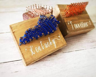 String art state, mini art, office desk accessories, wood block signs, wood block art, home state sign, small wood sign, rustic signs