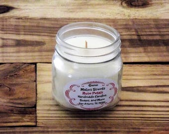 Rose Petals Scented Wood Wick Soy Candle
