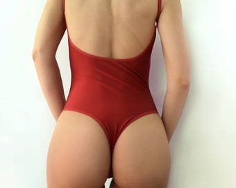 One piece swimsuit / Dark red swimsuit / open back / Womens swimwear
