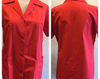 Vintage 1970's Uniform Cafeteria Lady Waitress Red Blouse