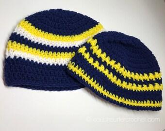Crochet Beanie / Handmade Crochet Beanie / Crochet Hat / Team Spirit Hat / Striped Hat / Striped Beanie / Team Colors Beanie / Team Colors