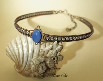 """Copper (metal) diadem with natural stone (chalcedony) and crystal. """"1001 Night"""" Series, tender diadem crown, tender east, wire wrap diadem"""
