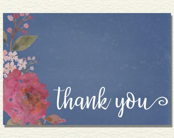 Printable Stationery Watercolor Floral Thank You Card