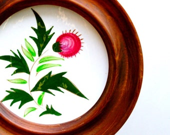Stangl pottery Thistle design dish in round wooden hanging frame