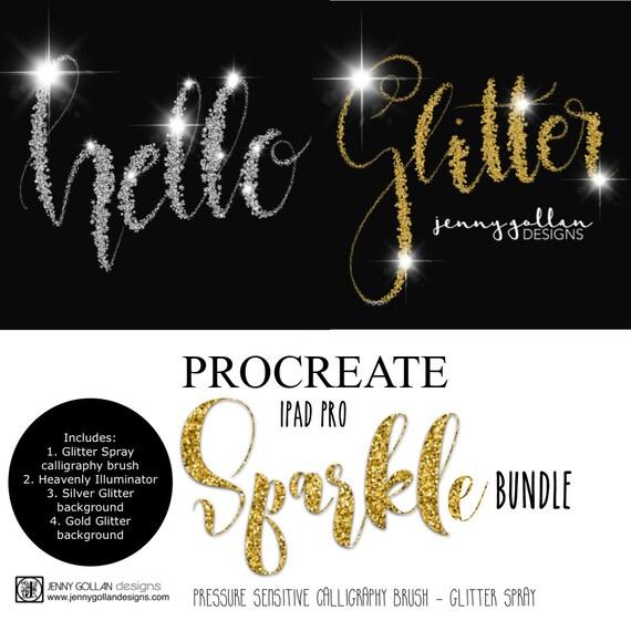 procreate brushes ipad pro glitter spray calligraphy brush