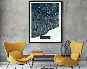 SANTO DOMINGO Dominican Republic CANVAS Large Art City Map Santo Domingo Dominican  Republic Art Print Poster